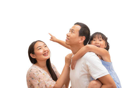 Photo pour Happy Asian family woman and a man with little child smiling and fun in the white background. - image libre de droit