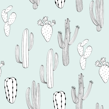 Illustration for Vector hand drawn seamless cactuses pattern background - Royalty Free Image