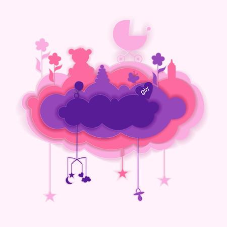 Foto de Paper cut of cloud with babies elements, card illustration. - Imagen libre de derechos