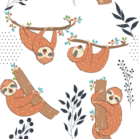 Illustration for Seamless pattern. Vector hand drawn illustration with funny sloths. - Royalty Free Image