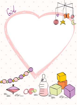 Ilustración de Vector baby shower. Cute card for girl with baby elements. - Imagen libre de derechos