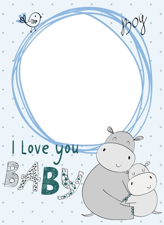 Illustration for Baby shower card. Vector hippo mom and baby - Royalty Free Image