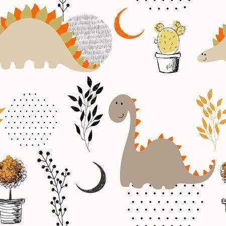 Illustration pour Seamless dinosaur pattern. - image libre de droit