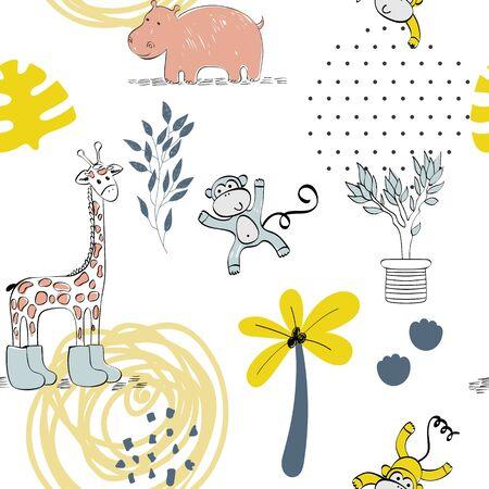 Illustration pour Cute safari animals. - image libre de droit