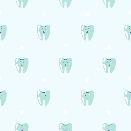 Cute Teeth Baby Dental Blue Pattern Background Seamless Tooth Vector Pattern For Clinic Uniform Fabric Design Royalty Free Vector Graphics