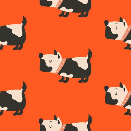 Seamless pattern with cute dogs red vector background.