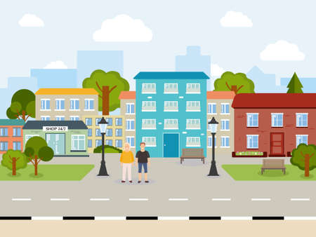 Illustration for A beautiful, bright, sunny city. It's day outside. Many houses of different colors. People guy and girl, green trees, blue sky, lanterns, shop. Illustration for your creativity - Royalty Free Image