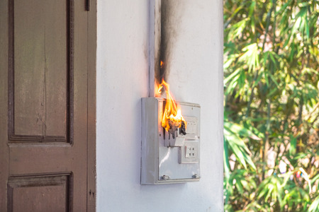 Fire and smoke burning on electric wire plug, electric short ... Wiring A Plug Outlet on