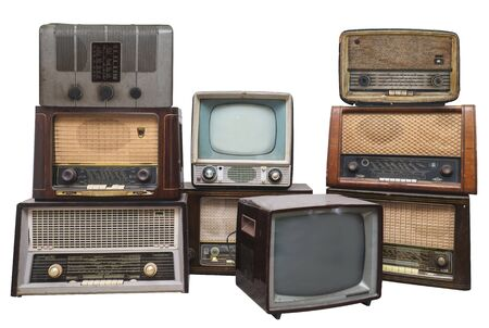 Photo pour Old vintage radios and televisions isolated on white background with clipping path. All logos and trademarks have boon removed - image libre de droit