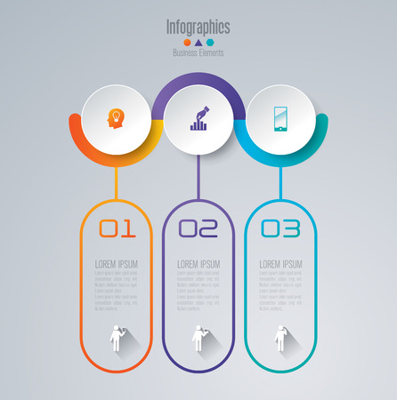 Ilustración de Infographic design template set and business icons. - Imagen libre de derechos