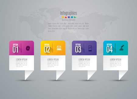 Ilustración de Infographic design template set and business icons. - Imagen libre de derechos
