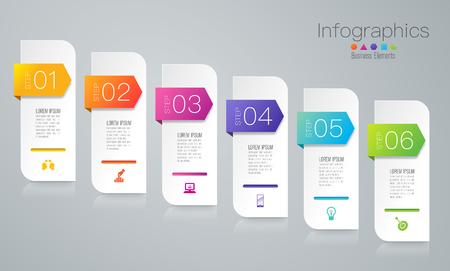 Illustration pour Infographics design vector and business icons with 6 options. - image libre de droit