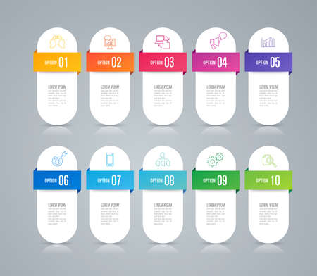 Illustration pour Infographics design vector and business icons with 10 options. - image libre de droit