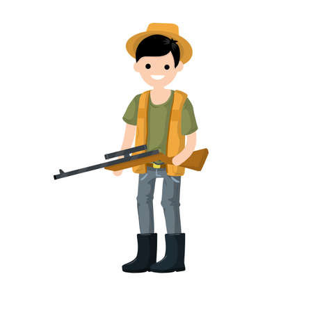 Illustration for Guy with rifle. Shooter and weapon. Cartoon flat illustration. Equipment for hunting animals - Royalty Free Image