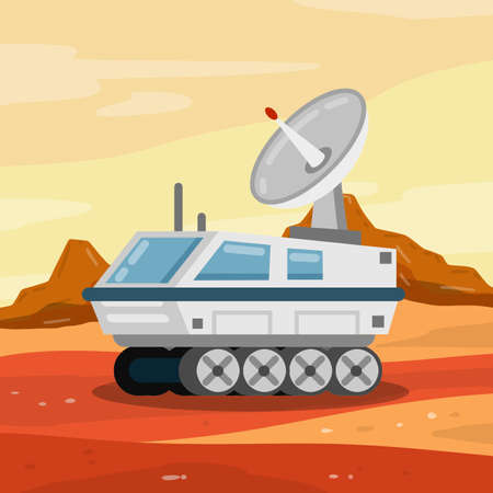 Illustration pour Rover. Space vehicle. Colonization of Mars and scientific research. White Spaceship on wheels. Martian landscape. Fantastic machine for exploring red planet and space. - image libre de droit