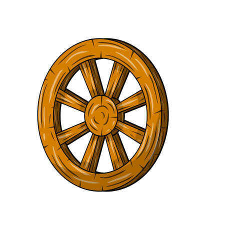 Illustration for Old wooden cart wheels. Brown Detail of wagon with cracks. A village vehicle in the wild West. Hand drawn cartoon illustration - Royalty Free Image