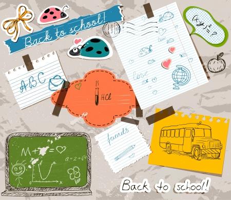 Foto de scrapbooking set with school elements. - Imagen libre de derechos