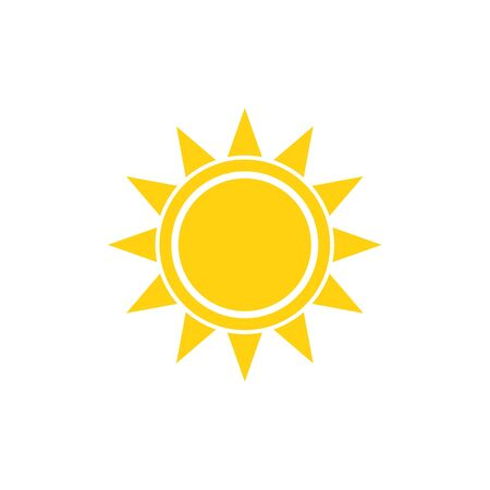 Illustration for Flat sun summer vector bright icon on white - Royalty Free Image