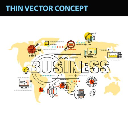thin line consept wit fkat business icons