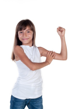 Little girl shows us their biceps isolated in white