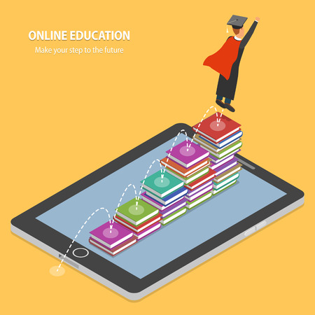 Illustration pour Online Education Flat Isometric Concept. - image libre de droit