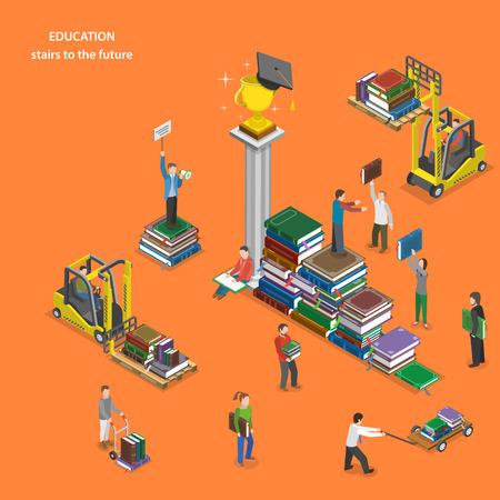 Illustration pour Education flat isometric vector concept. - image libre de droit