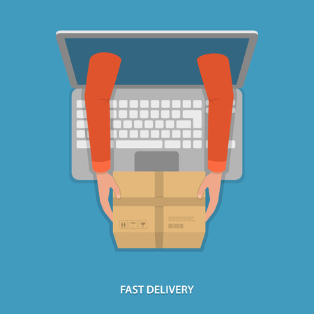 Fast goods delivery vector illustration. Hands of delivery man with parcel appeared from laptop.