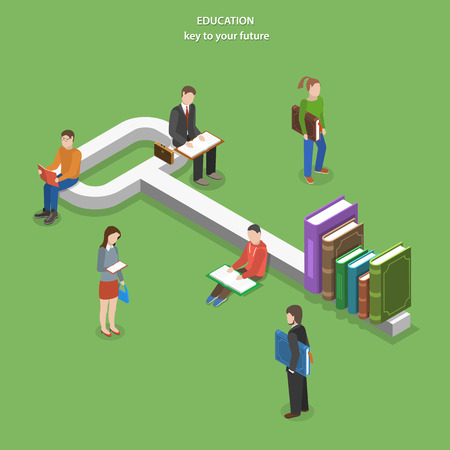 Education flat isometric vector concept. People read books near key, part of which are books.