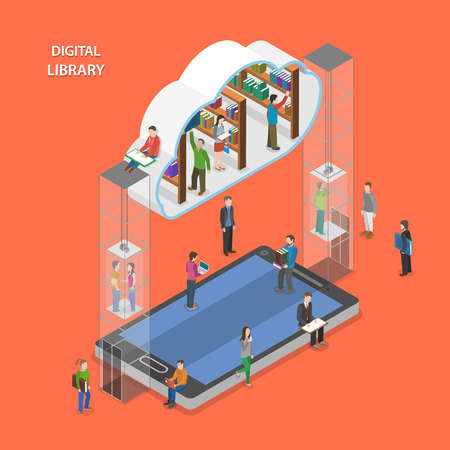Illustration pour Digital library flat isometric vector concept. People going to cloud library through mobile device. - image libre de droit