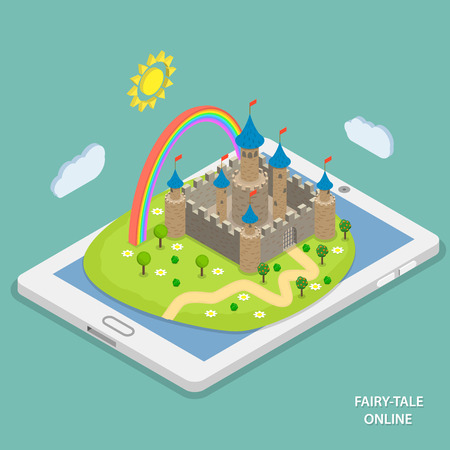 Illustration for Online fairy tale reading isometric flat vector concept. Fairy tale landscape with castle and rainbow laying on tablet. - Royalty Free Image
