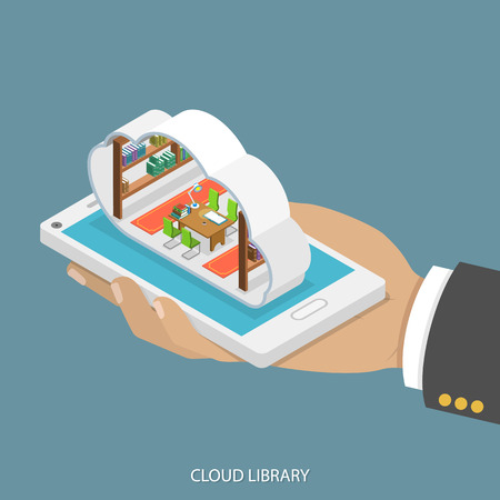 Illustration pour Cloud library flat isometric vector concept. Mans hand takes a smartphone with libary with shelves of books inside a cloud. Reading, learning online, - image libre de droit
