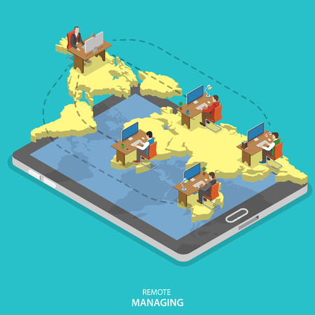 Remote managing isometric flat vector concept. Isometric model of earth continents are hovering over the tablet with manager and group of employees on it. Cloud office, outsourcing, distant work.