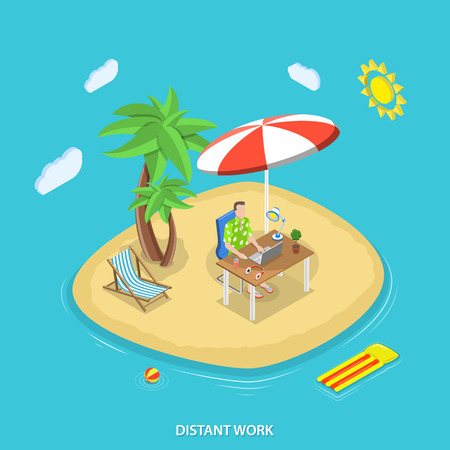 Distant work isometric flat vector concept. Man with laptop at the table works on a tropical island. Freelance, remote work.