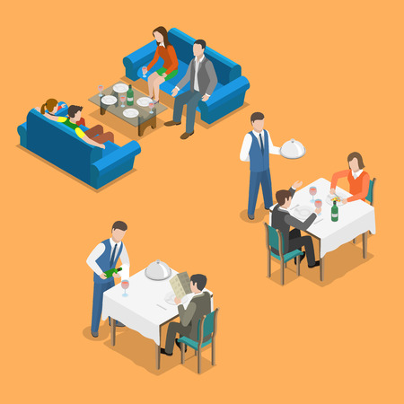 Restaurant service isometric flat vector concept. People are communicating and eating at restaurant.