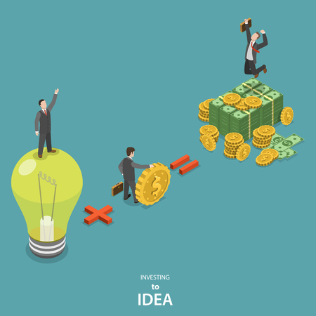 Investing into idea isometric flat vector concept. Idea plus investor is a huge profit.
