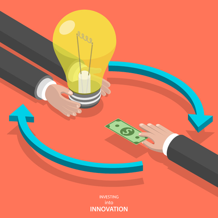 Illustration pour Investing into innovation flat isometric vector concept. Mans hands offer lightbulb and other mans hand instead of it gives bank note. - image libre de droit