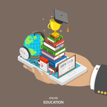 Illustration pour Online education isometric flat vector concept. Mans hand holds a mobile phone with education attributes like books, diploma, graduation hat. Distant learning service. - image libre de droit