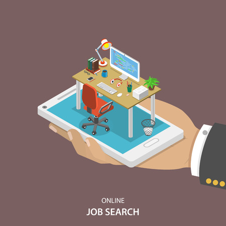 Illustration pour Online job searching isometric flat vector concept. Hand with office table, chair and computer appeared from smartphone screen. HR, human resource, recruitment. - image libre de droit