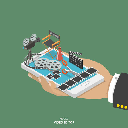 Illustration for Mobile video editor flat isometric vector concept. Hand with smartphone and equipment for movie creating like film strip, camera, directors chair on it. - Royalty Free Image