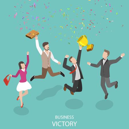 Ilustración de Business victory flat isometric vector concept. - Imagen libre de derechos