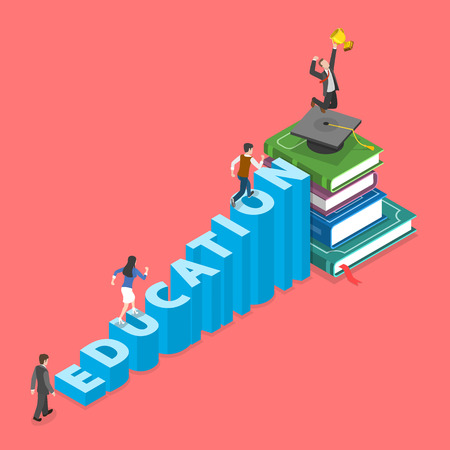 Illustration pour Education flat isometric vector concept. People are climbing into graduation cap that is on the pile of books. They do it using stairs that made of letters of the word education - image libre de droit