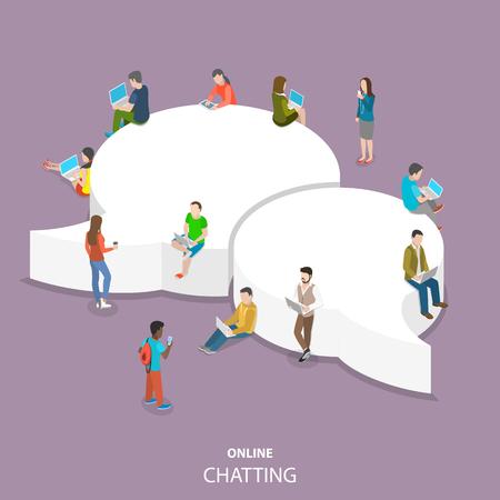 Illustration pour Online chatting flat isometric vector concept. - image libre de droit
