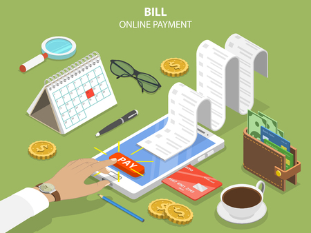 Illustration for Bills online payment flat isometric vector concept - Royalty Free Image