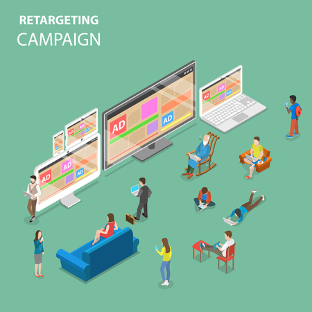 Illustration pour Re-targeting campaign flat isometric vector concept. - image libre de droit