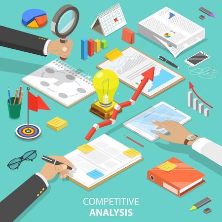 Illustration pour Competitive analysis flat isometric vector concept - image libre de droit