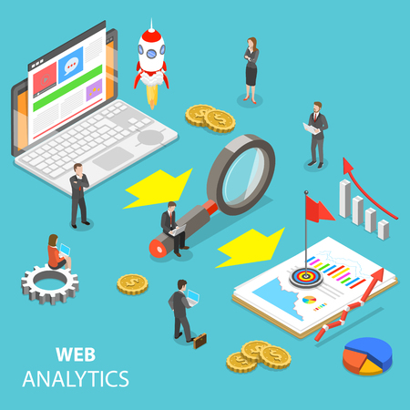 Illustration for Web analytics flat isometric vector concept. - Royalty Free Image
