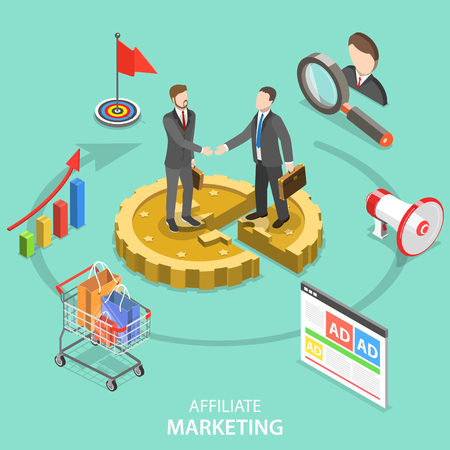 Affiliate marketing flat isometric vector concept.