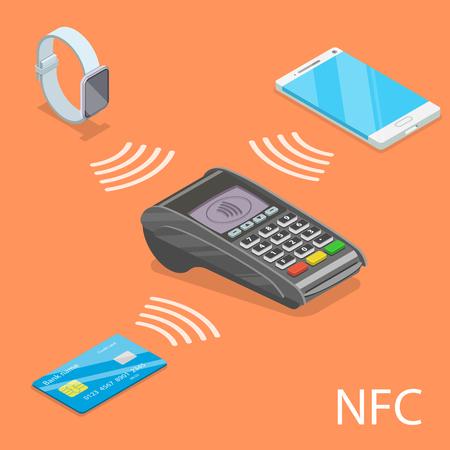 Illustration pour NFC isometric flat vector concept. - image libre de droit