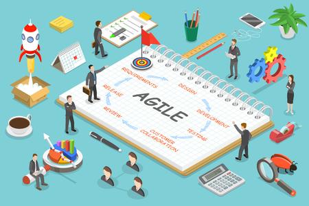 Illustration pour Agile methodology flat isometric vector concept. - image libre de droit