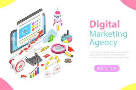 Illustration pour Digital marketing agency flat isometric vector - image libre de droit